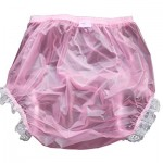 Haian-Adult-Incontinence-Pull-on-Plastic-Pants-Lace-Panties-Color-Transparent-Pink-With-White-Lace-0-0