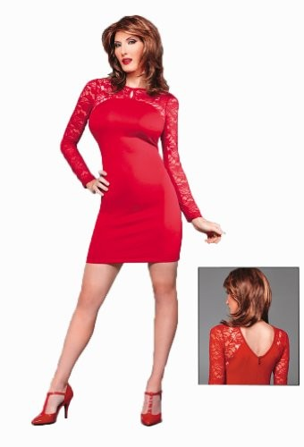 Sexy-Crossdressing-Transgender-Red-Lace-Trim-Dress-for-by-Suddenly-Fem-0