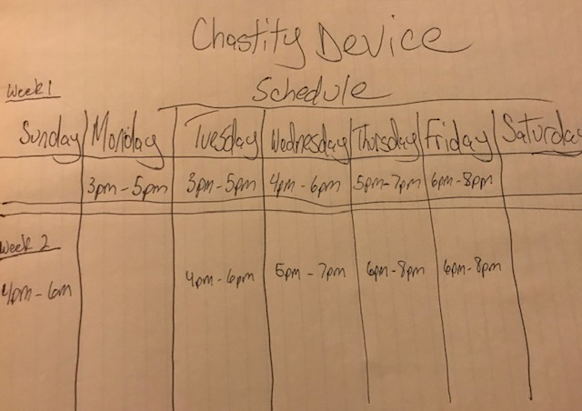 Chastity Schedule